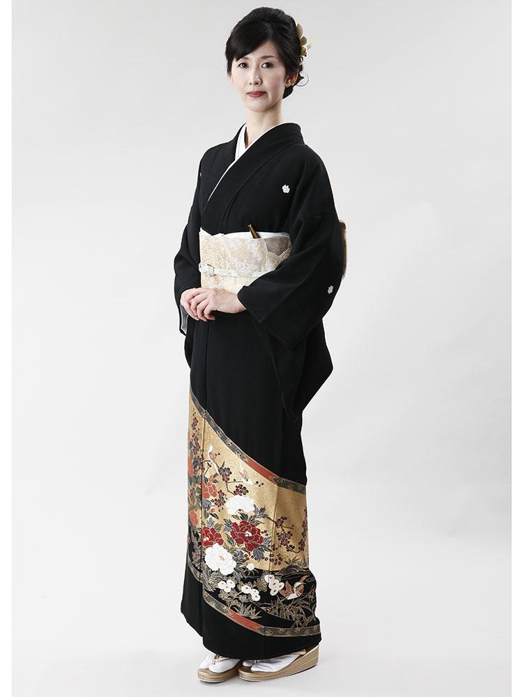 【高級黒留袖レンタル】t-305 本金箔の屏風絵 MLサイズ 屏風絵