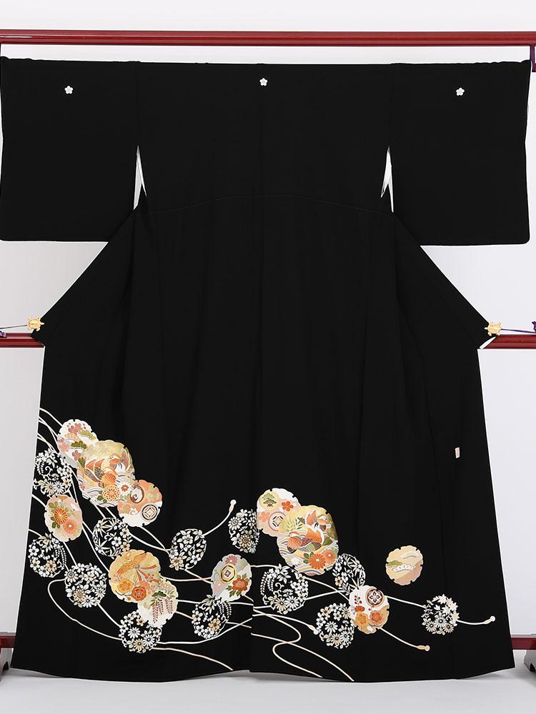 【高級黒留袖レンタル】t-330 梅鉢の紋・雪輪柄 MLサイズ 輪におしどり、鳳凰・唐花柄