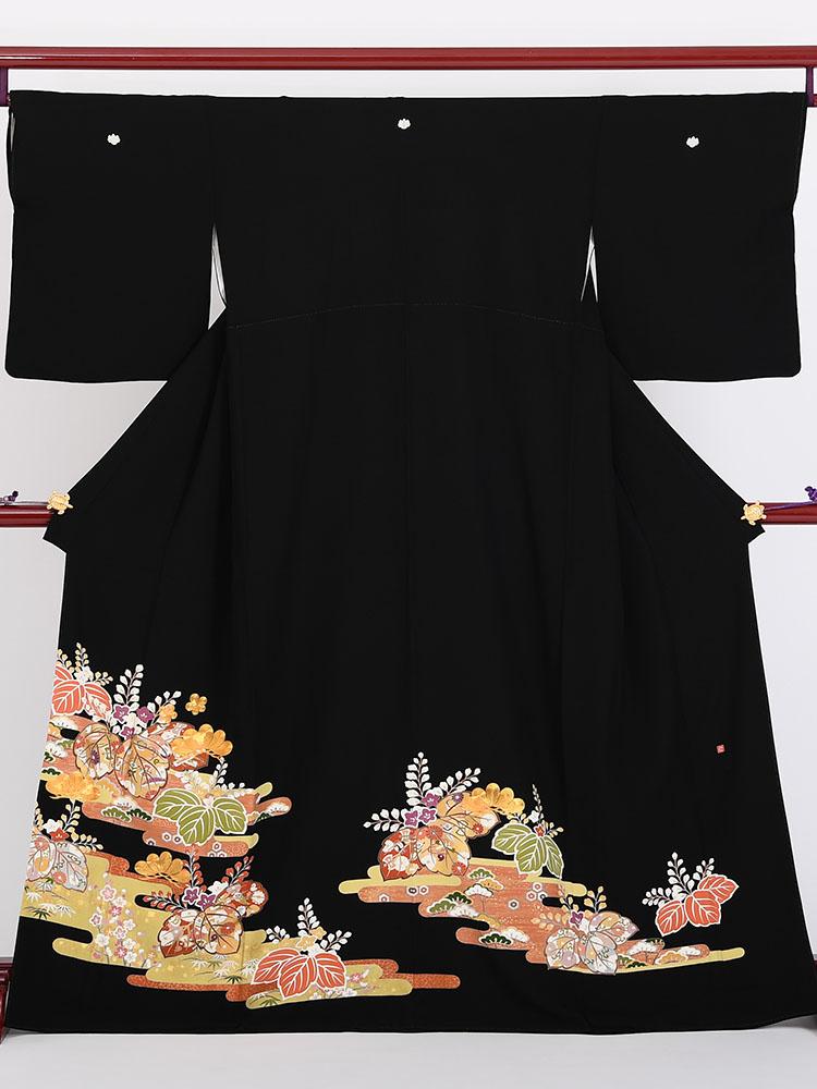 【高級黒留袖レンタル】t-409 豪華金駒刺繍・高級留袖 MLサイズ 桐