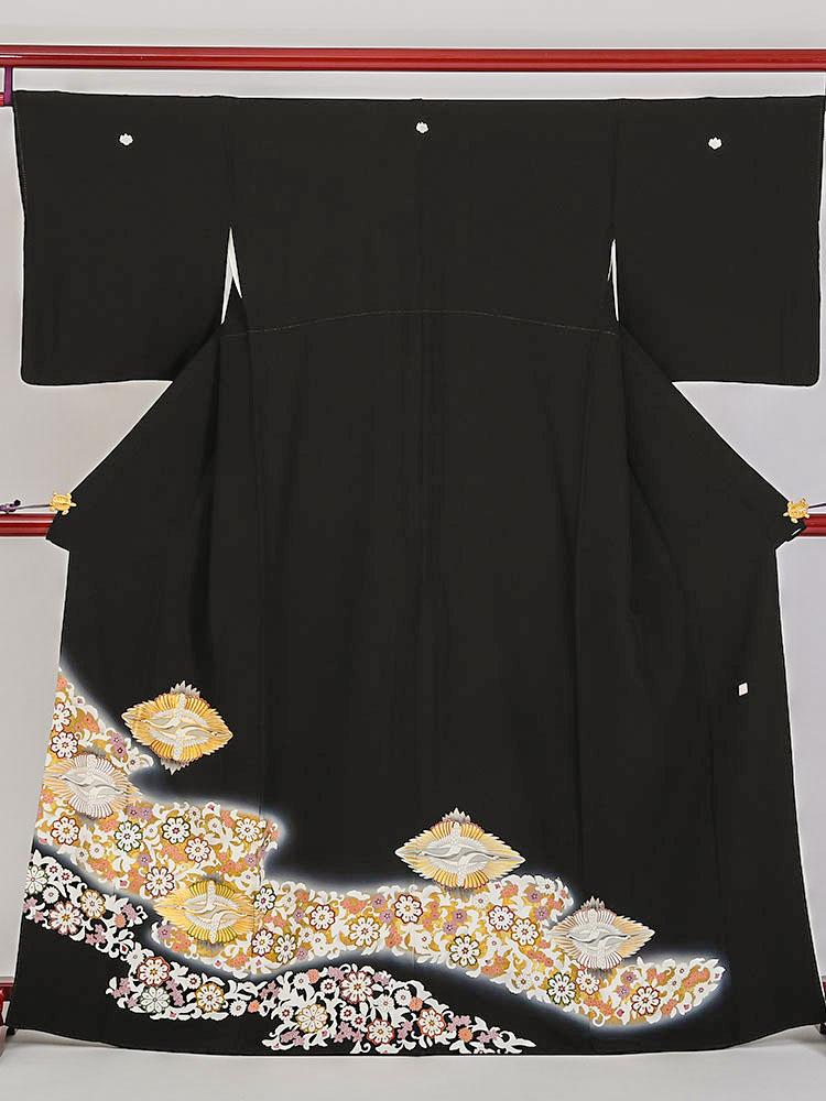 【高級黒留袖レンタル】t-410 向鶴の上品な留袖 MLサイズ 鶴