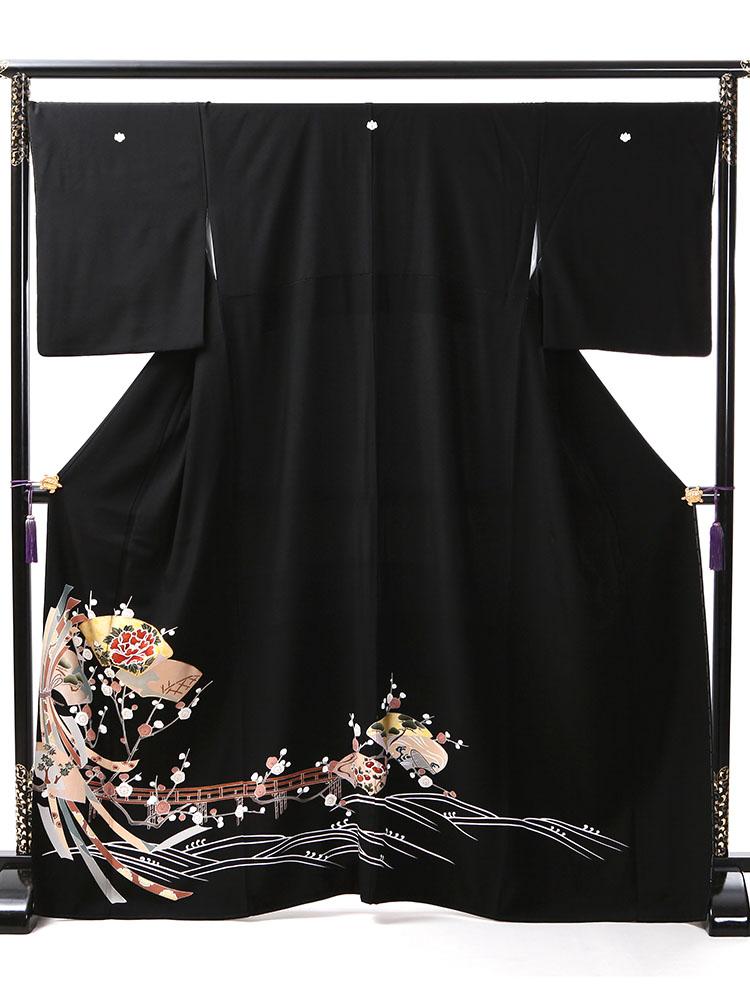 【幅広で小柄な方向け高級黒留袖レンタル】t-428 格安のゆったりサイズ SOサイズ 束ね熨斗・地紙