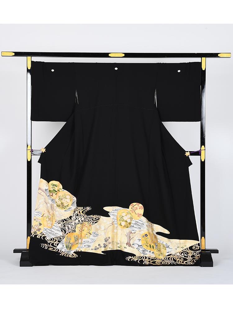 【高級黒留袖レンタル】t-434 琳派・十日町友禅・Lサイズ Lサイズ