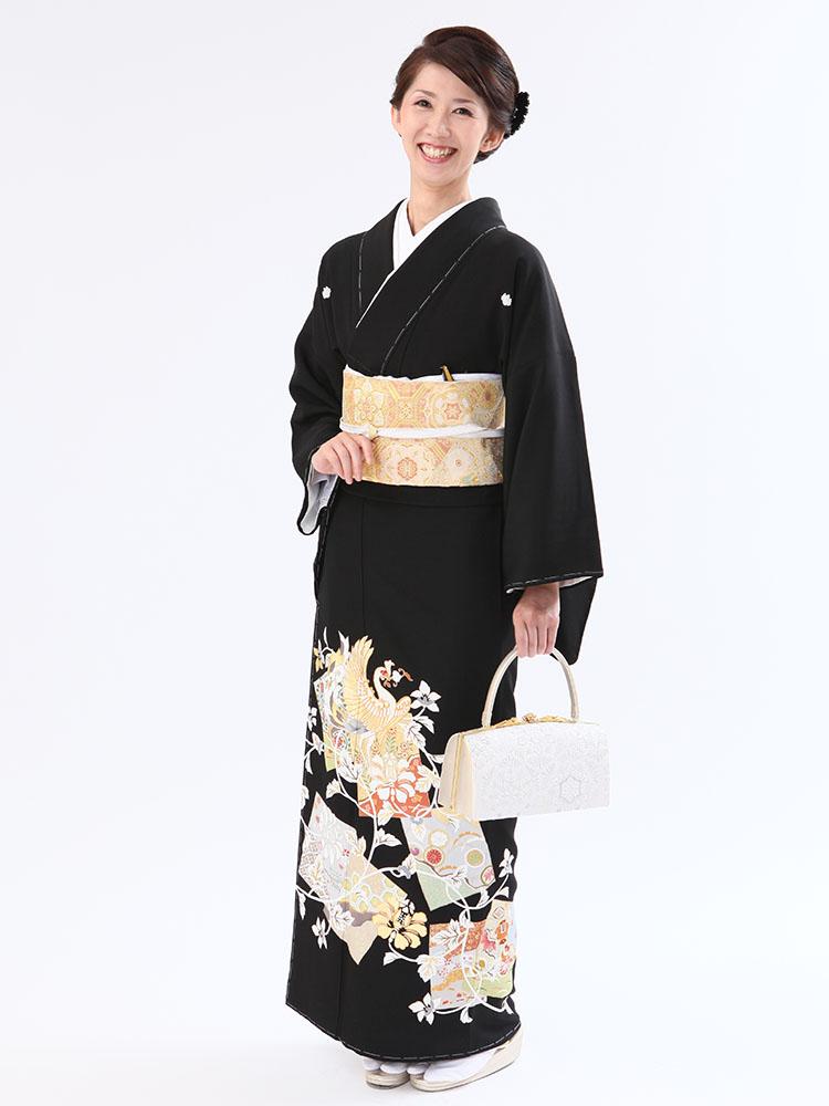 【高級黒留袖レンタル】t-438 金駒・吉祥花喰鳥 MLサイズ 花喰鳥(鳳凰)