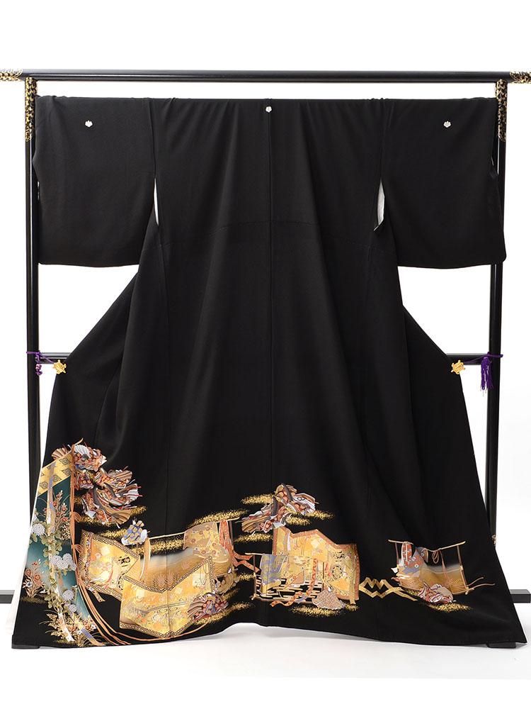 【幅広で小柄な方向け高級黒留袖レンタル】t-446 ゆったりサイズの源氏物語絵巻柄 SOサイズ