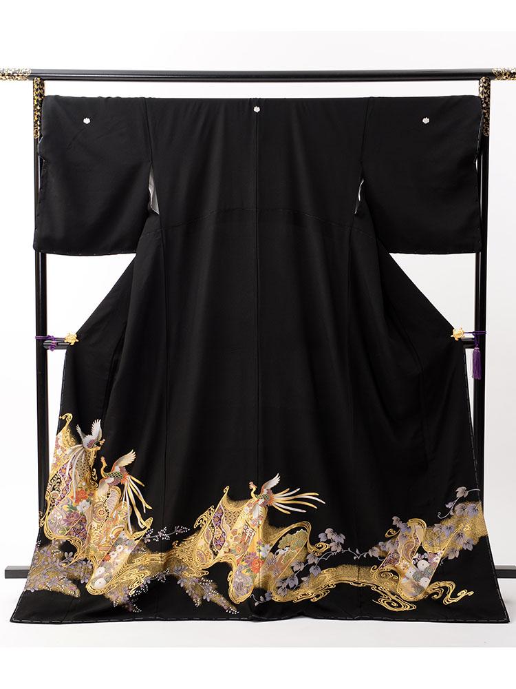【高級黒留袖レンタル】t-448 ゆったりサイズの鳳凰柄 LOサイズ 鳳凰