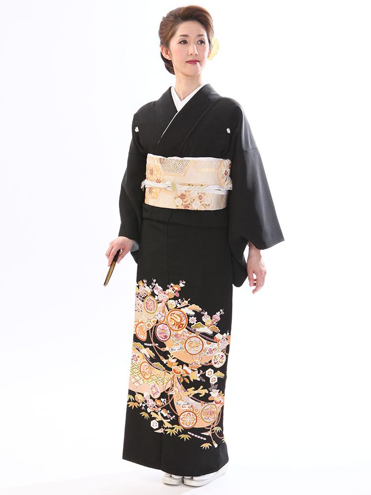 【高級黒留袖レンタル】t-450 京友禅の黒留袖・宝尽くし MSサイズ