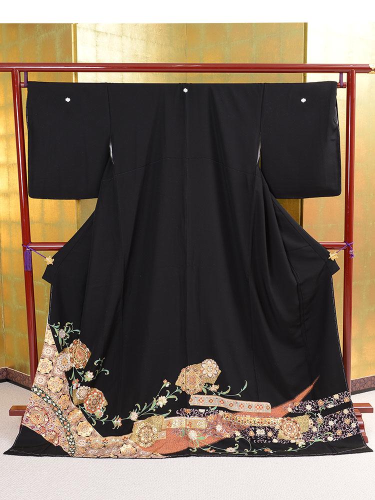 【大きいサイズの高級黒留袖レンタル】t-456 ふくよかサイズ LOサイズ 唐花・華文柄