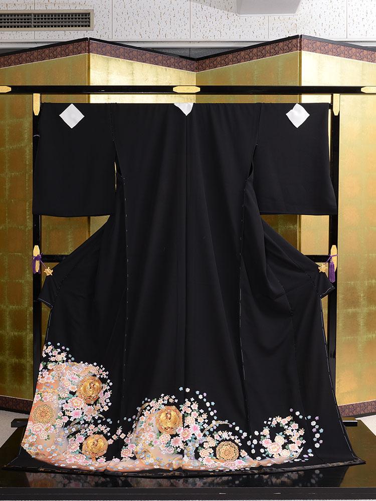 【大きいサイズの高級黒留袖レンタル】t-458 可愛いらしさのある広幅・165cm対応 LLOサイズ 鳳凰と洋花
