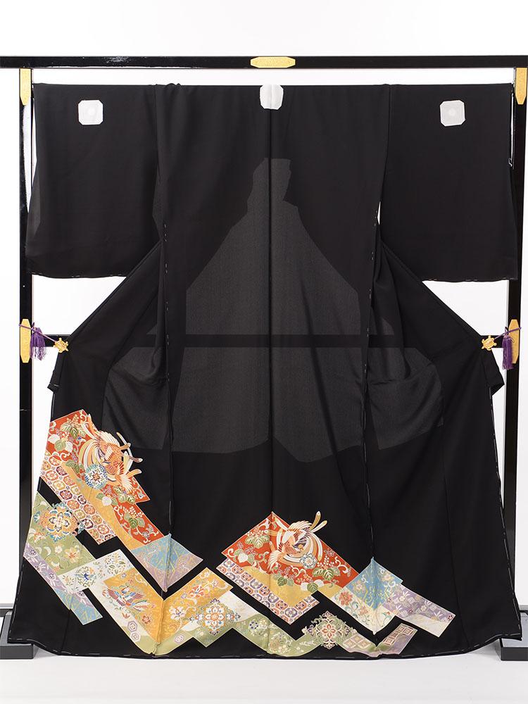 【高級黒留袖レンタル】t-464 広幅ゆったりサイズ・逸品の高級京友禅留袖 LOOサイズ 桐に鳳凰