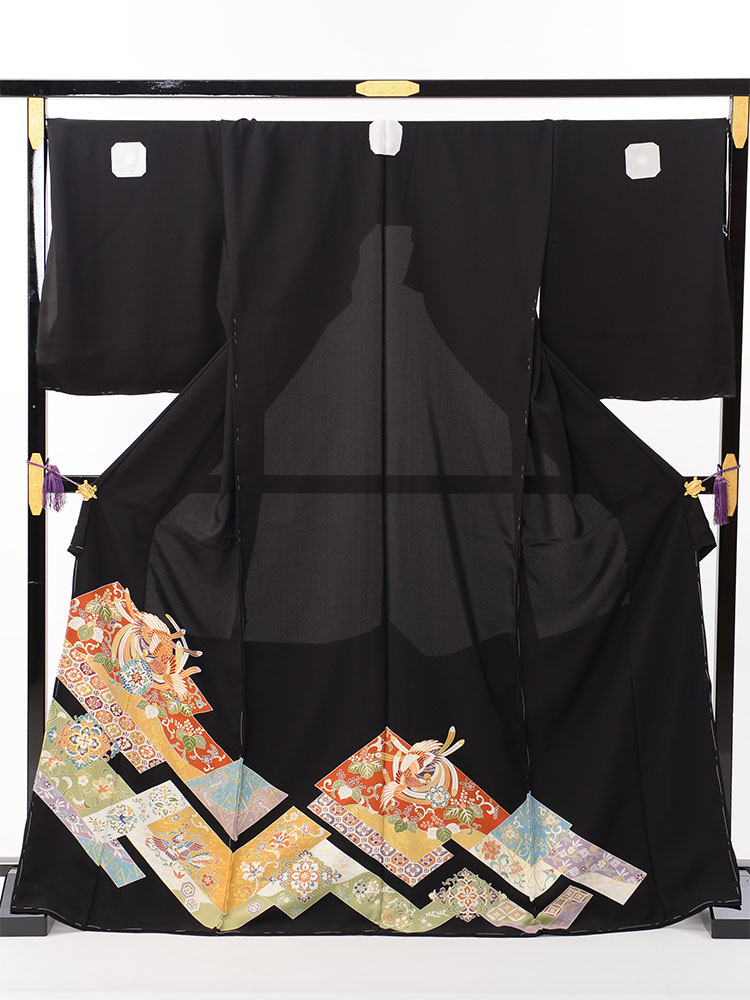 【大きいサイズの高級黒留袖レンタル】t-464 広幅ゆったりサイズ・逸品の高級京友禅留袖 LOOサイズ 桐に鳳凰