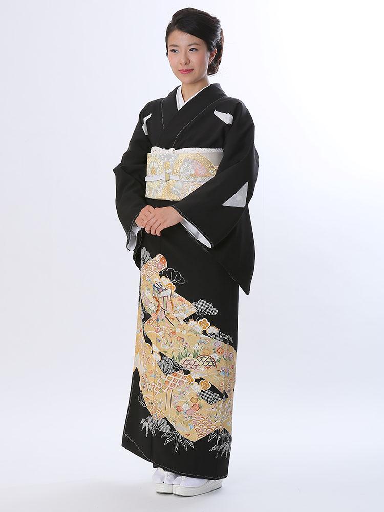 【高級黒留袖レンタル】t-465 背の高い方向け黒留袖 LLサイズ 絵巻物・四季の花