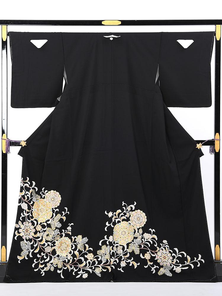【高級黒留袖レンタル】t-467 上品でオシャレな十日町友禅 MLサイズ 唐草・華文