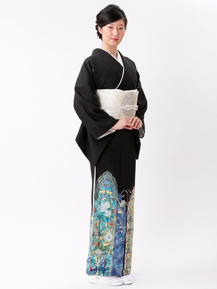 【高級黒留袖レンタル】t-470ML チャペルウエディング向けの留袖・ブルー系のMLサイズ MLサイズ ステンドグラス・バラ柄