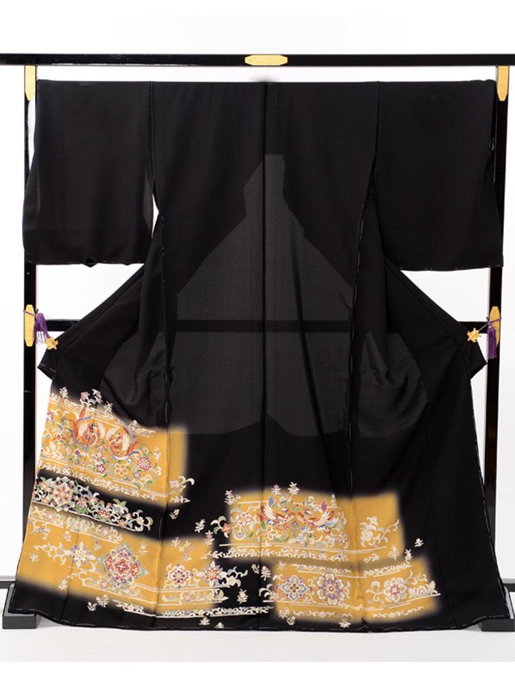 【大きいサイズの高級黒留袖レンタル】t-473 幅広サイズの上質の京友禅 LOOサイズ 鳳凰柄