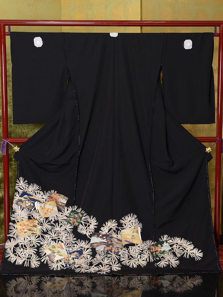 【高級黒留袖レンタル】t-475 落ち着いた色紙に松葉文の京友禅 Lサイズ 色紙・松葉