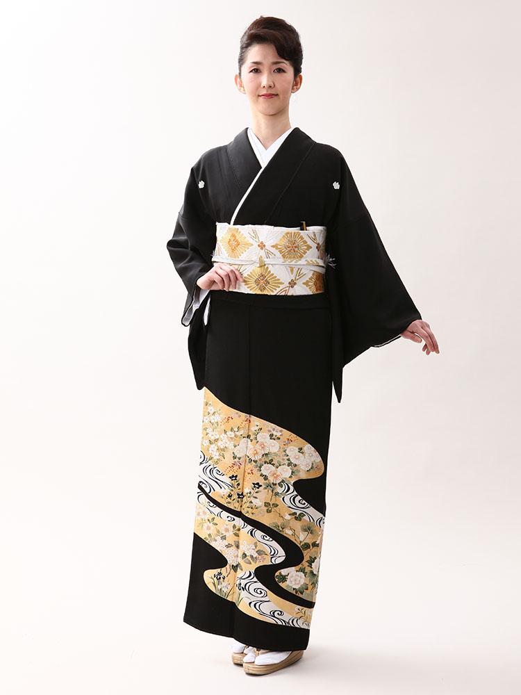 【高級黒留袖レンタル】t-602 古典美の極み・菱健謹製の豪華琳派柄 MLサイズ 琳派・観世水と四季の花