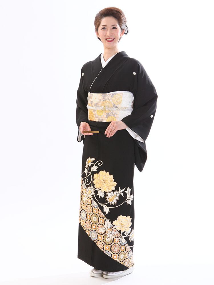 【高級黒留袖レンタル】t-660 最高級京友禅・百花の牡丹と蜀江文様 Lサイズ(163cm中心)