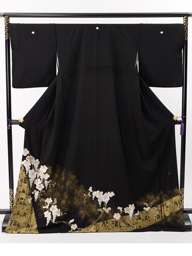 【高級黒留袖レンタル】t-609 山口美術織物謹製・縫取り総刺繍 Lサイズ 葡萄唐草・立涌・総刺繍