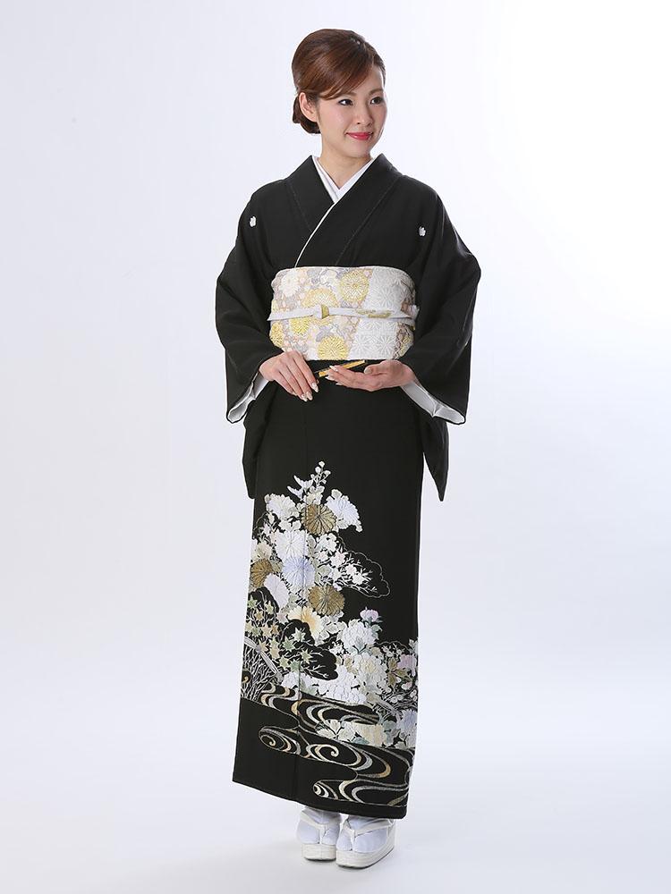 【高級黒留袖レンタル】t-610 山口美術織物謹製・花々の総刺繍 Mサイズ 四季の花・総刺繍