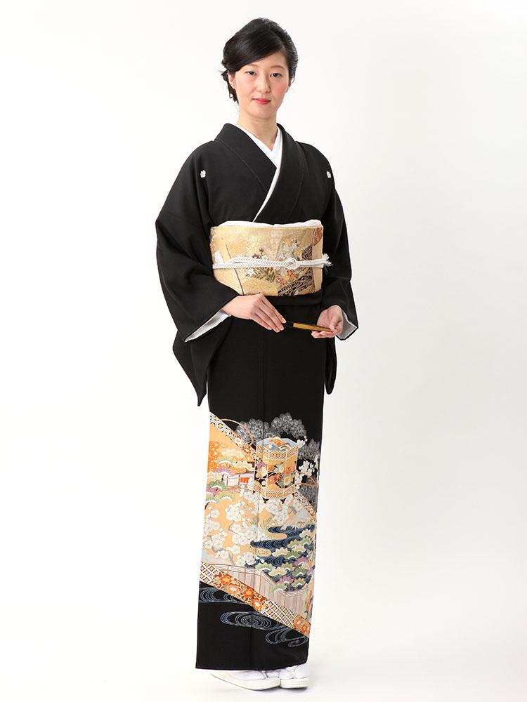 【高級黒留袖レンタル】t-614 幅広サイズの最高級京友禅・貝桶柄 LOサイズ 貝桶・古典柄