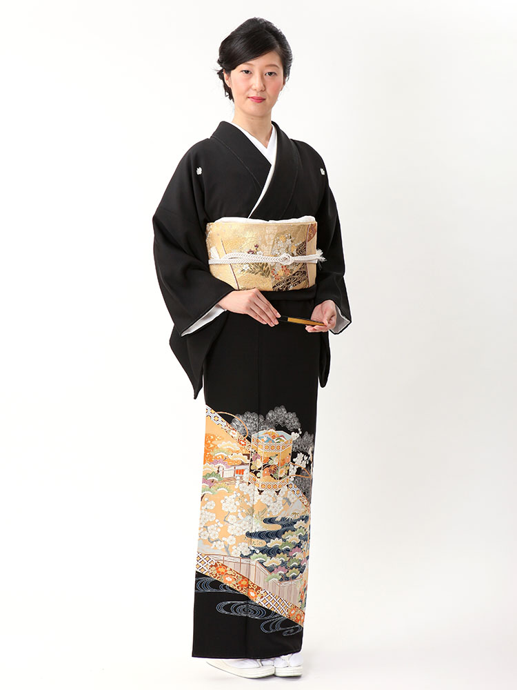 【高級黒留袖レンタル】t-614 幅広サイズの最高級京友禅・貝桶柄 Lサイズ 貝桶・古典柄