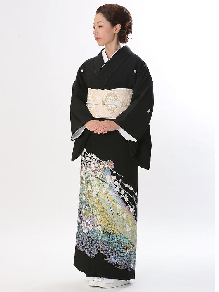 【高級黒留袖レンタル】t-615 上質の本加賀友禅 MLサイズ 松竹梅・日本の風景