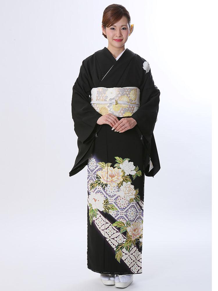 【高級黒留袖レンタル】t-620 ハイクラス京友禅 Lサイズ 牡丹と蜀江・七宝柄