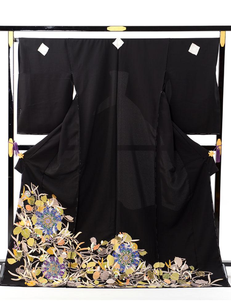 【高級黒留袖レンタル】t-625 キモノプロと一流染匠のコラボ。ステンドグラス・唐草文の最高級オリジナル・LLサイズ LLサイズ ステンドグラス・華文・唐草