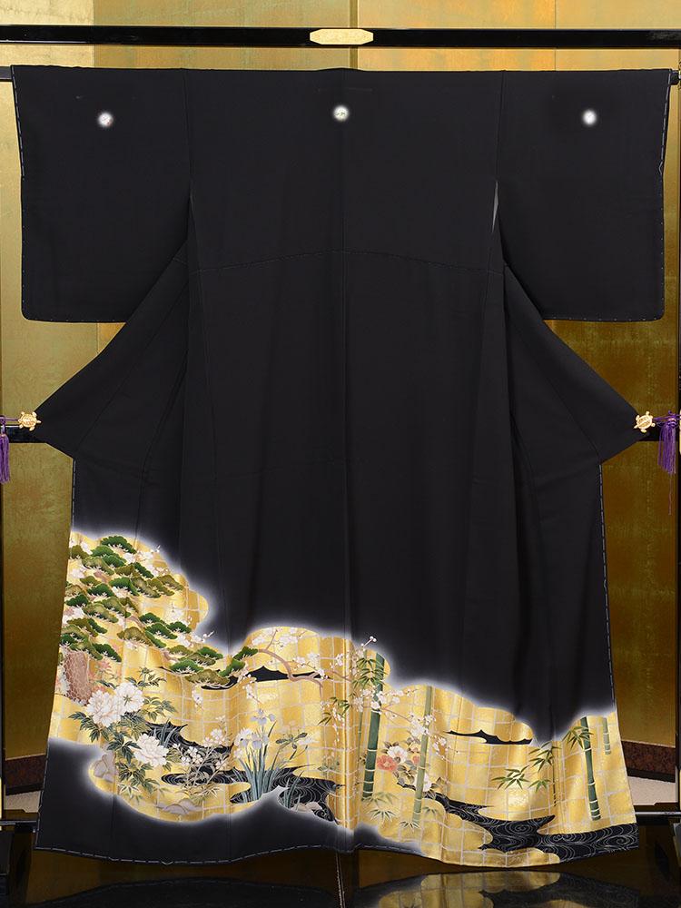 【高級黒留袖レンタル】t-634 琳派 松竹梅の最高級京友禅 Mサイズ 松竹梅