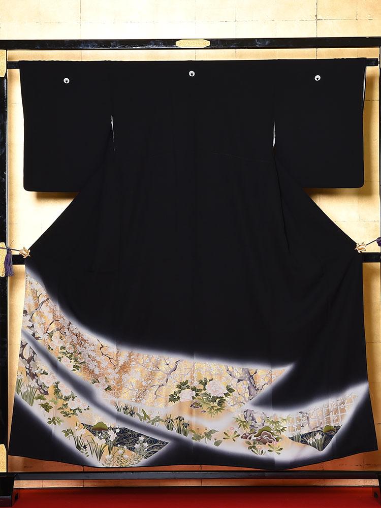 【高級黒留袖レンタル】t-640 小柄な方向けの琳派柄・最高級京友禅 Sサイズ 琳派・四季の花