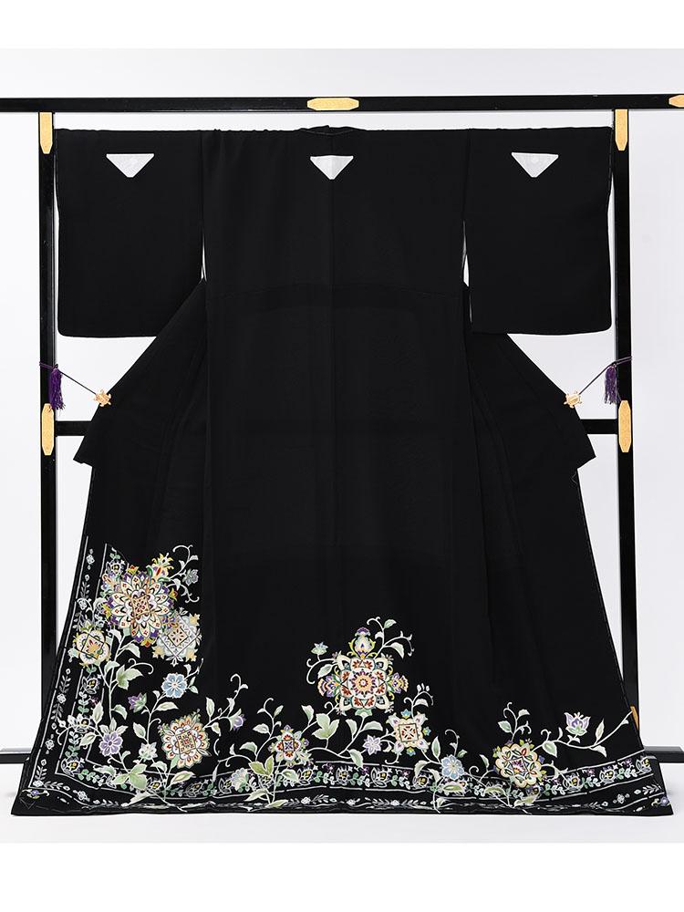 【大きいサイズの高級黒留袖レンタル】t-648 チャペル向けの幅広サイズの高級京友禅・ LOサイズ 正倉院文様