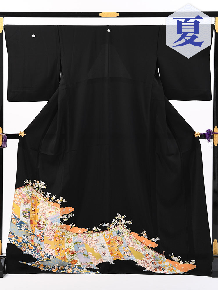 【高級黒留袖レンタル】t-650 色鮮やかな高級京友禅・初夏から秋にかけての単衣 MLサイズ 幔幕文・宝尽くし