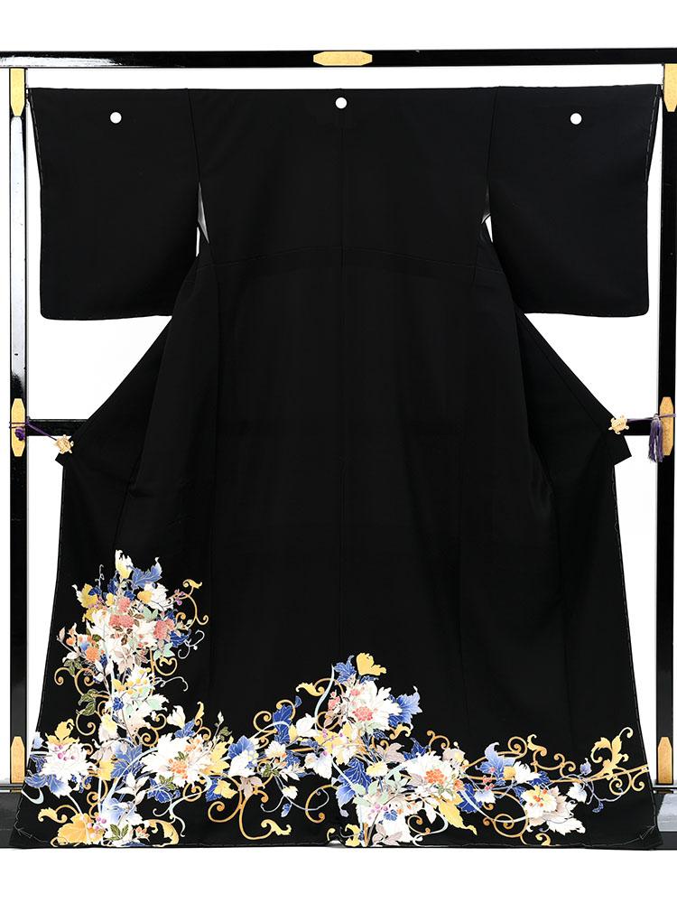 【高級黒留袖レンタル】t-656 若冲調の逸品黒留袖・最高級京友禅 MLサイズ 蔦に木香薔薇文