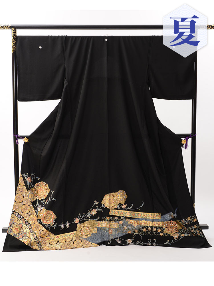 【高級・単衣黒留袖レンタル】th-1 単衣の黒留袖シリーズ・幅広サイズ XOサイズ 正倉院柄 (5月〜10月前後に利用する留袖)