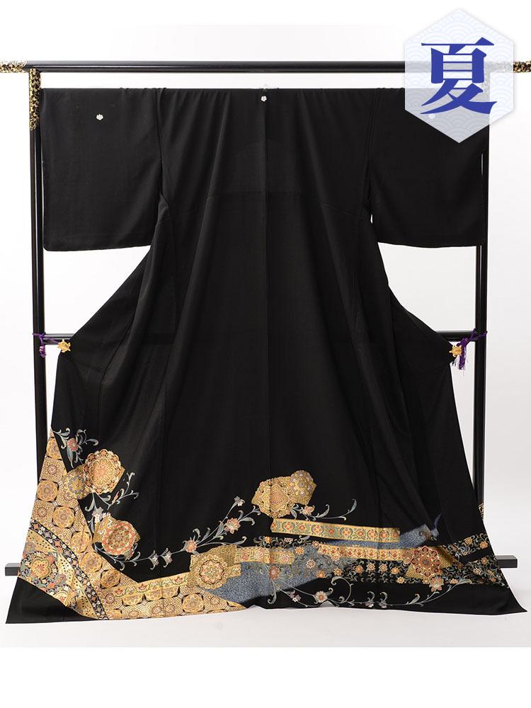 【高級・単衣黒留袖レンタル】th-1 単衣の黒留袖シリーズ・幅広サイズ LLOOサイズ 正倉院柄 (5月〜10月前後に利用する留袖)