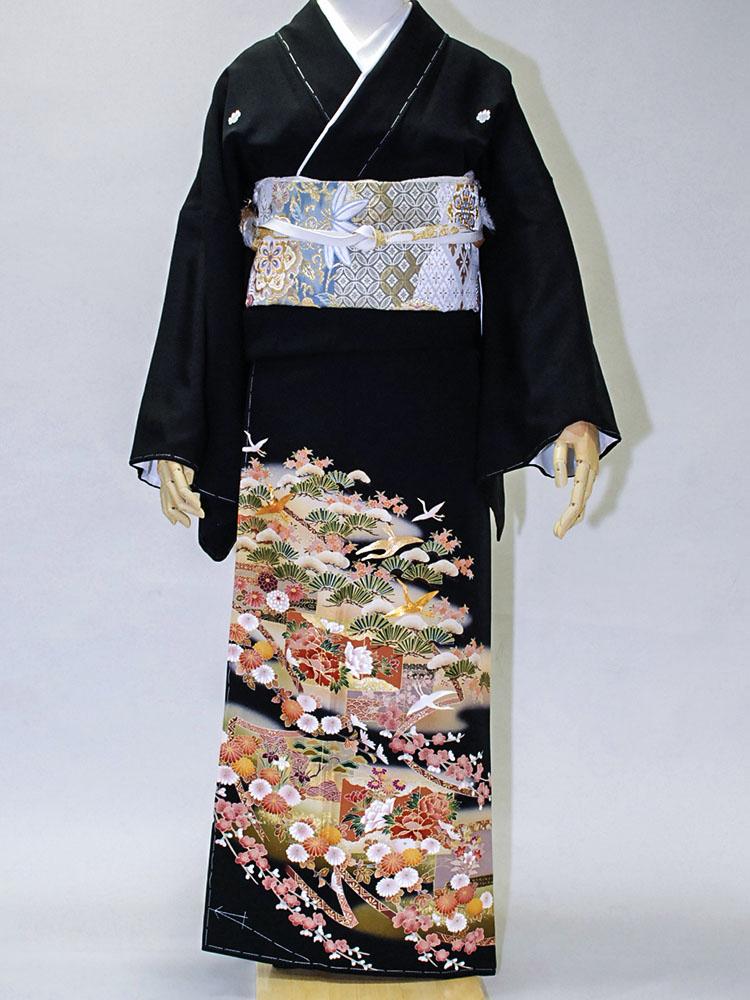 【高級黒留袖レンタル】tm-1 古典柄・松竹梅に鶴 Lサイズ 松竹梅・鶴