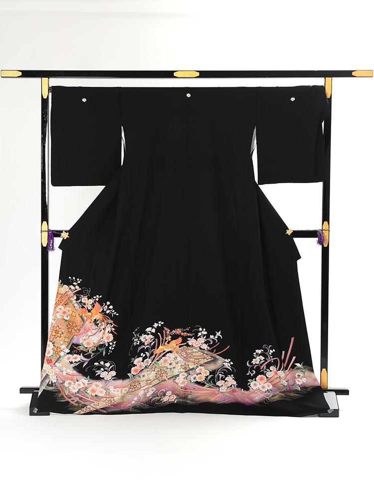 【高級黒留袖レンタル】tm-3 古典柄・花喰鳥に花々 LLサイズ 花喰鳥