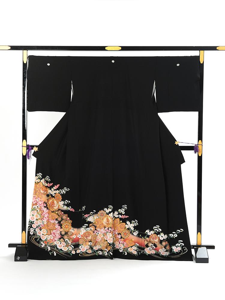 【高級黒留袖レンタル】tm-4 フェミニンな古典柄・鳳凰 LLサイズ 鳳凰