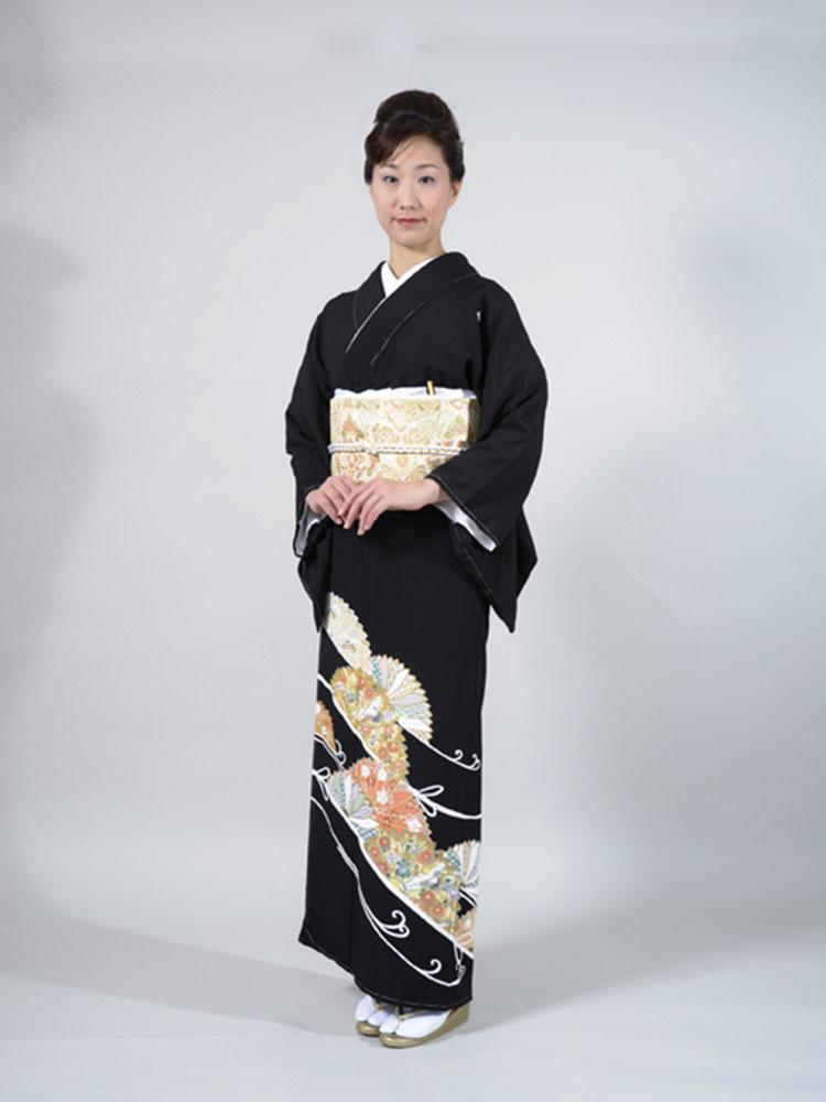【高級黒留袖レンタル】tm-6 菊花に組紐 MLサイズ 菊花・組紐