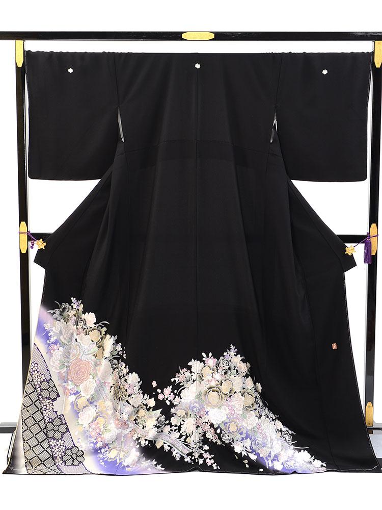【高級黒留袖レンタル】yumi-katsura-11 桂由美ブランドの黒留袖「花束」 LLサイズ 疋田・バラ