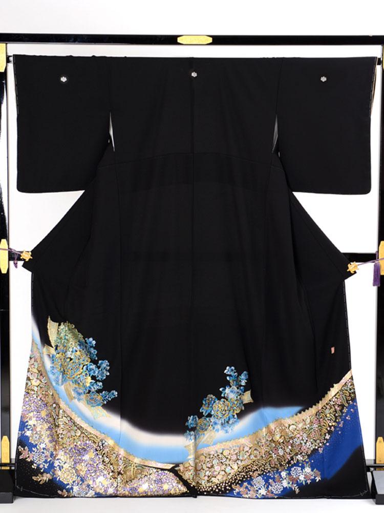 【高級黒留袖レンタル】yumi-katsura-13 桂由美ブランドの黒留袖「光の花束・青色」 MLサイズ 薔薇の花束
