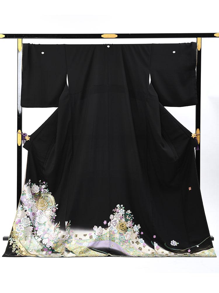 【大きいサイズ・高級黒留袖レンタル】yumi-katsura-16 桂由美ブランドの黒留袖 ふくよかな方向け LLOOサイズ バラと洋花