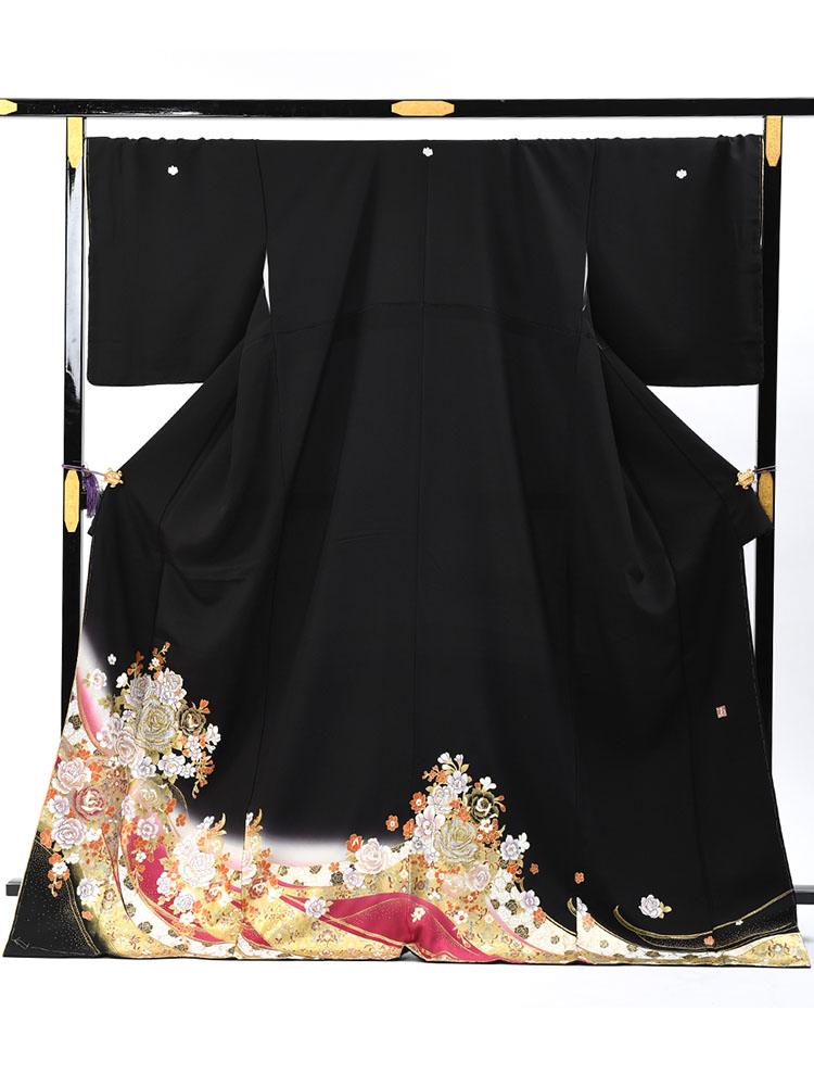 【大きいサイズの桂由美留袖レンタル】yumi-katsura-17 桂由美ブランドの黒留袖 大きいサイズ LLOサイズ バラと洋花