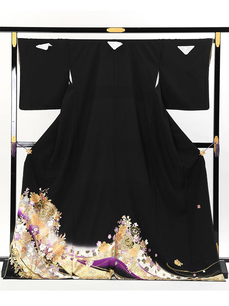 【大きいサイズの桂由美黒留袖レンタル】yumi-katsura-18 桂由美ブランドの高級黒留袖「黄金の鐘」 LOサイズ バラとレース