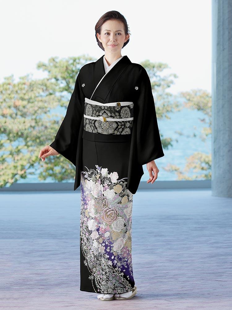 【高級黒留袖レンタル】yumi-katsura-19 桂由美ブランドの黒留袖「薔薇のしらべ」 MLサイズ