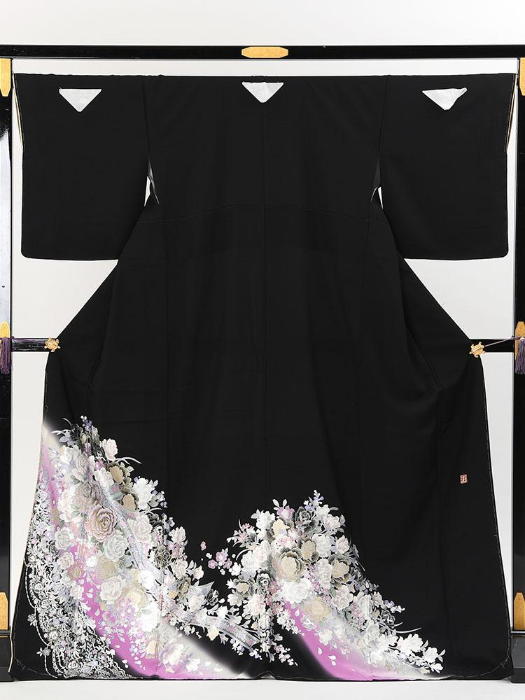 【高級黒留袖レンタル】yumi-katsura-24 桂由美ブランドの黒留袖「花リボン」 MLサイズ 薔薇の花束