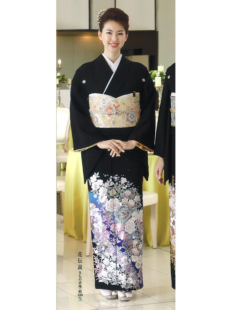 【高級黒留袖レンタル】yumi-katsura-3 桂由美ブランドの黒留袖「花伝説」 MLサイズ バラと洋花