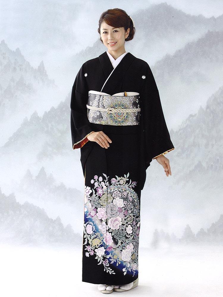 【高級黒留袖レンタル】yumi-katsura-5 桂由美ブランドの黒留袖「バラの戯れ」 MSサイズ 薔薇・扇・洋花