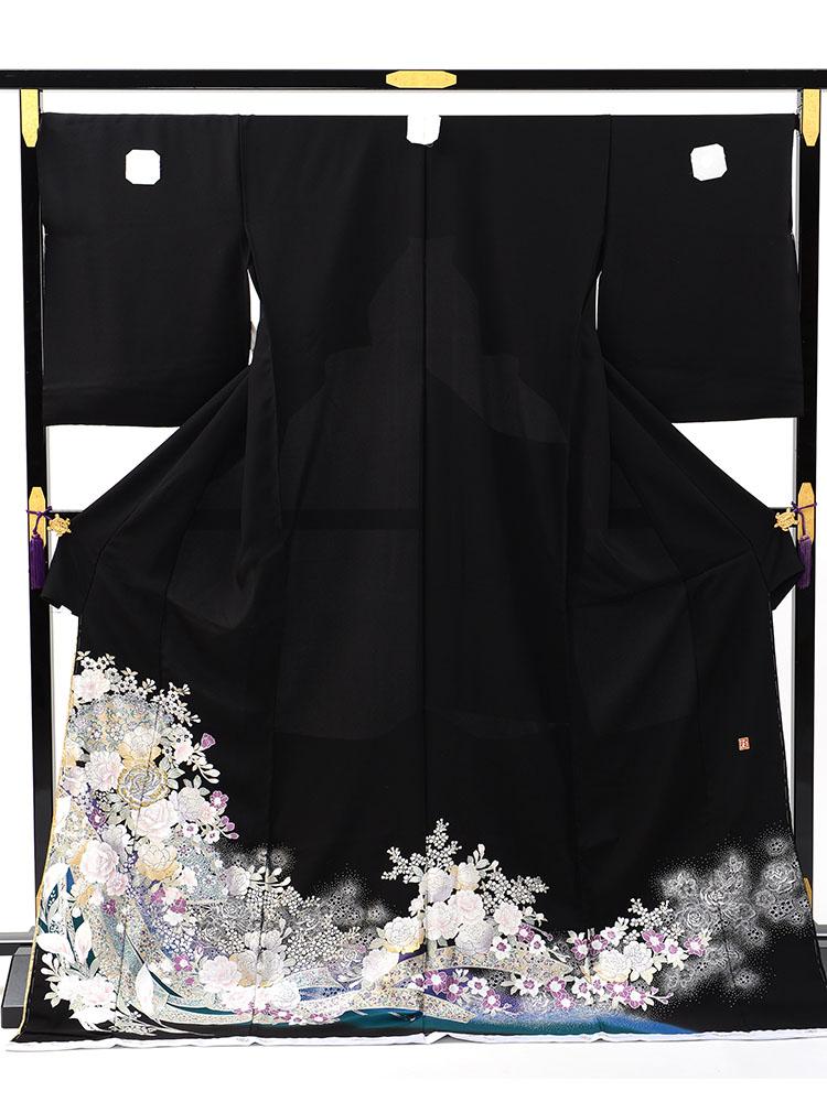 【高級黒留袖レンタル】yumi-katsura-8-b 桂由美ブランドの黒留袖「花扇面」 LOサイズ 扇・バラ・カラーの花