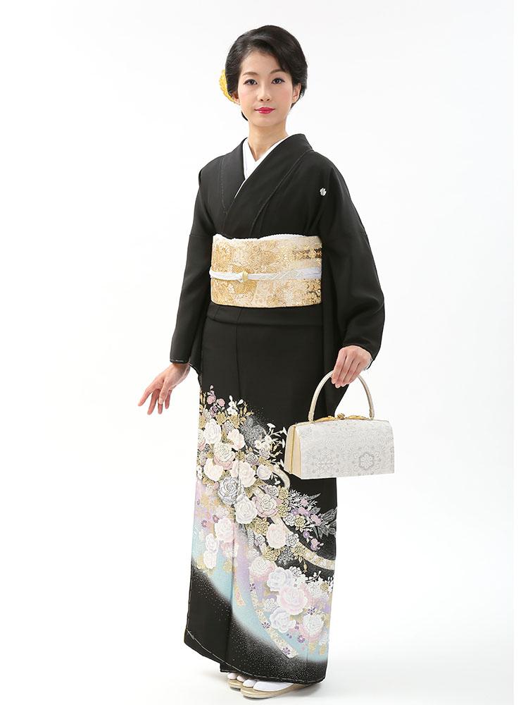 【高級黒留袖レンタル】yumi-katsura-9MS 桂由美ブランドの黒留袖「円舞曲」 MSサイズ 薔薇